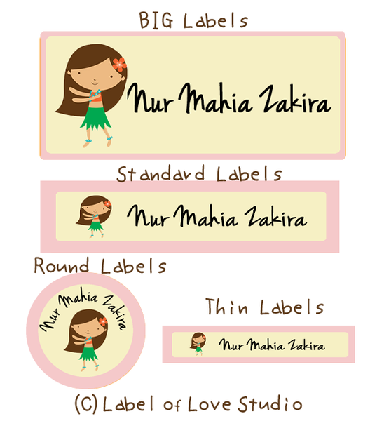 Sweet Hula Girl Waterproof Labels