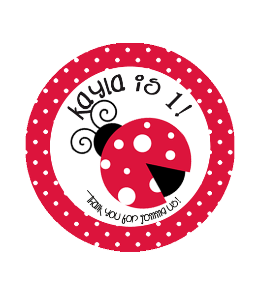 Lady Bug Birthday Label
