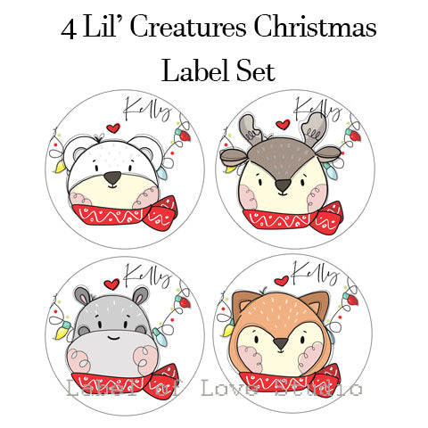 Lil' Christmas Creatures Round Tag/ Label Set