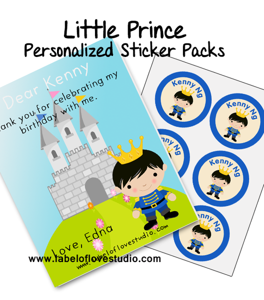 Little Prince Party Favor Name Stickers Pack