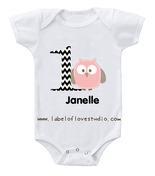 Owl First Birthday Romper/ Tee