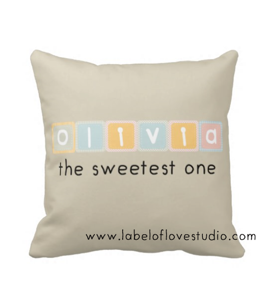 Pastel Blocks Personalized Cushion