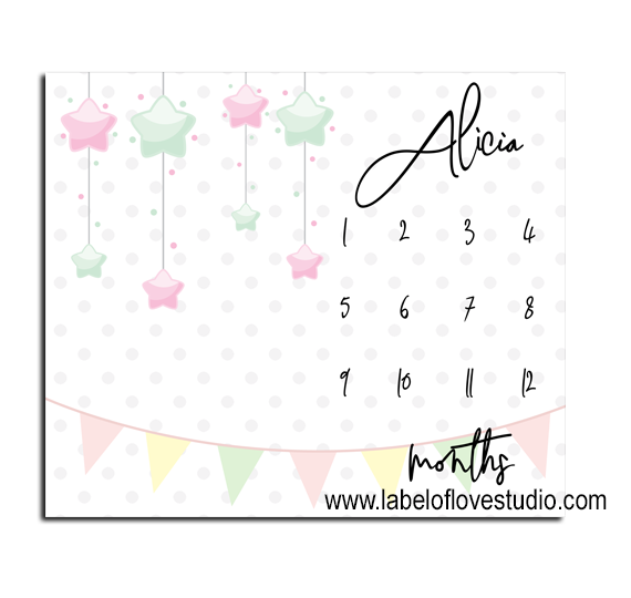 Pastel Party Milestones Blanket