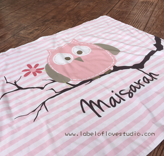 Pink Owl on Branch Big Personalized Blanket