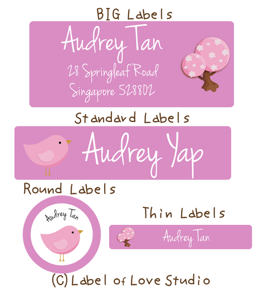 Sweet Bird Waterproof Name Labels