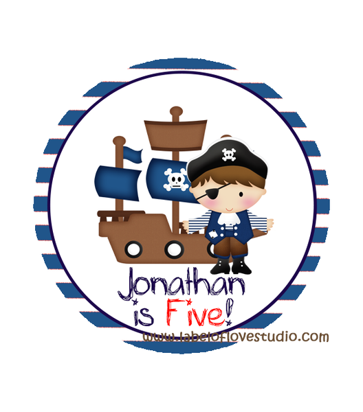 Ahoy Pirate Birthday Labels