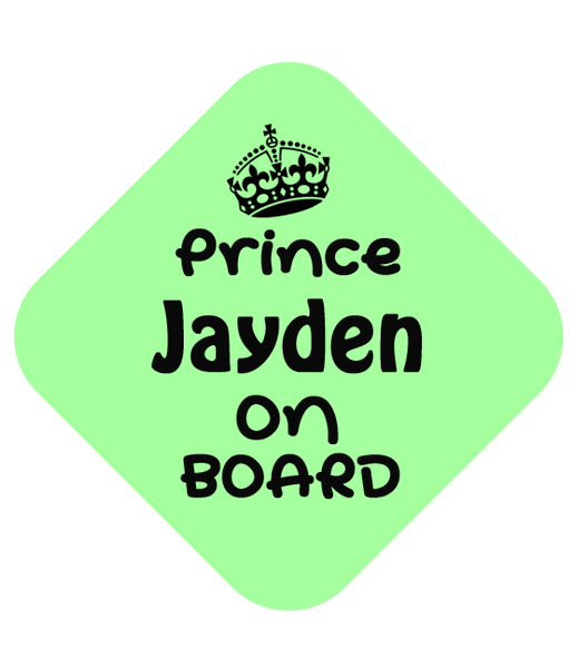 Prince on Board Car Sign