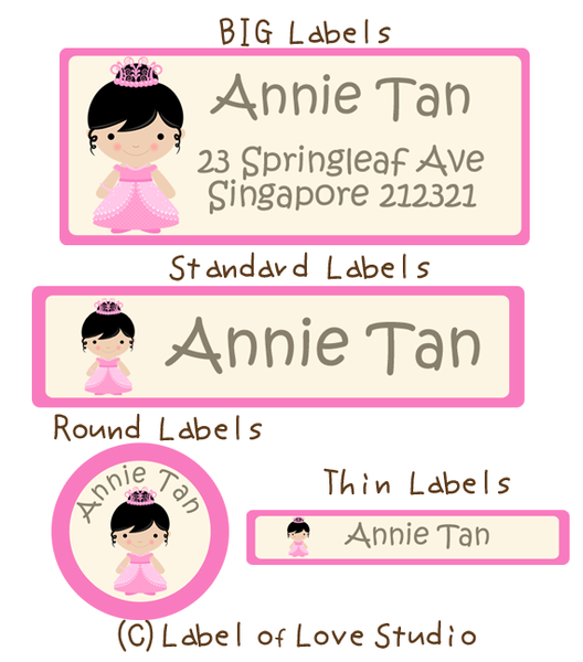 Princess Bunny Waterproof Labels