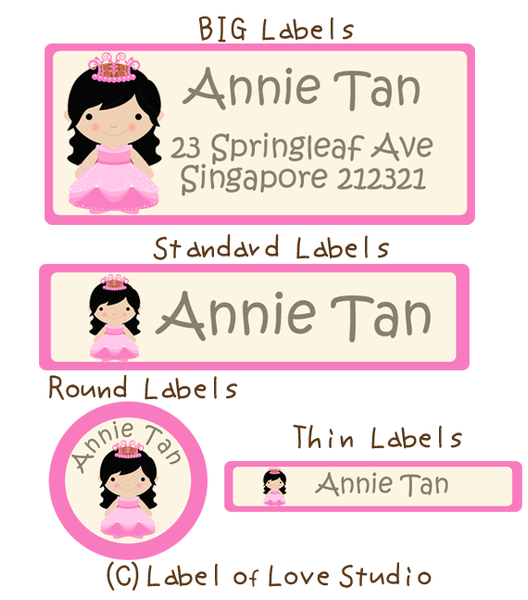 Princess Long Locks Waterproof Labels