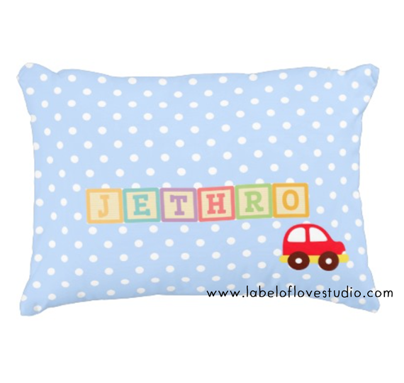 Rainbow Blocks in Blue Personalized Pillow