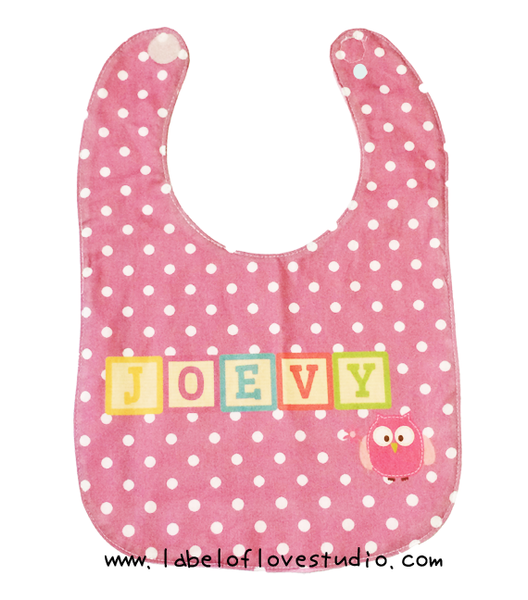 Rainbow Blocks in Pink Bib