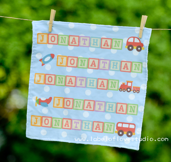 Rainbow Blocks in Blue Personalized Security Blanket