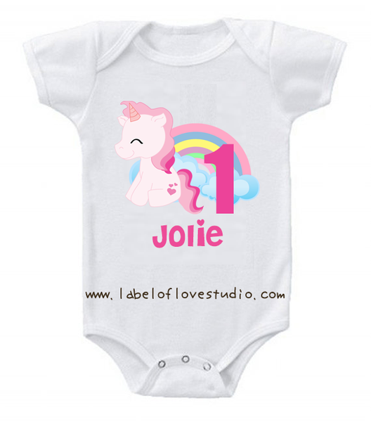 Rainbow Unicorn Birthday Romper/ Tee