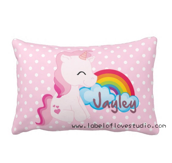 Rainbow Unicorn Personalized Pillow