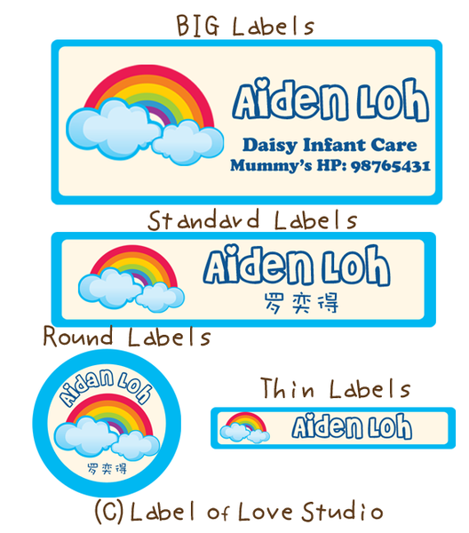 Rainbow Waterproof Labels
