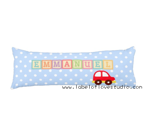 Rainbow Blocks in blue (little car) Beansprout Pillow