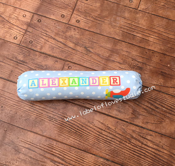 Rainbow Blocks Bolster in Blue Personalized Bolster