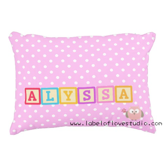 Rainbow Blocks in Pink Personalized Pillow