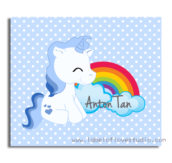 Sweet Unicorn in blue Big Personalized Blanket