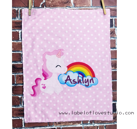 Rainbow Unicorn in Pink Personalized Security Blanket