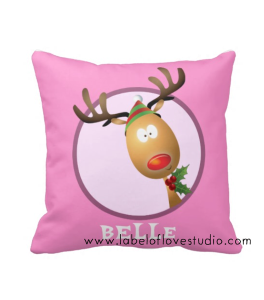 Cute Reindeer Cushion (Girl)