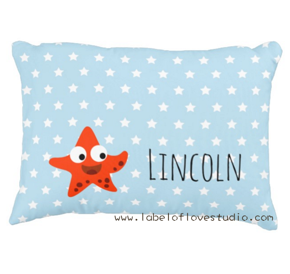 Happy Starfish Personalized Pillow