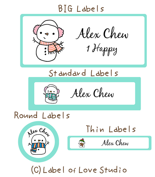 Mr Snowman Waterproof Labels