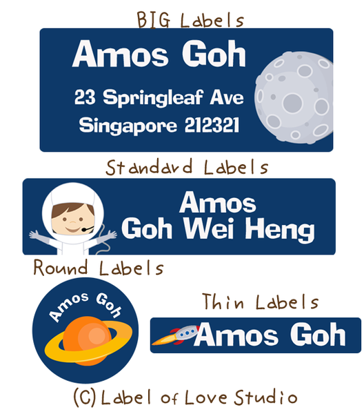 Space Adventure Waterproof Name Labels