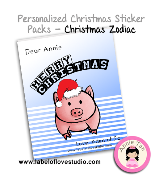 Personalized Sticker Packs (Christmas Zodiac)