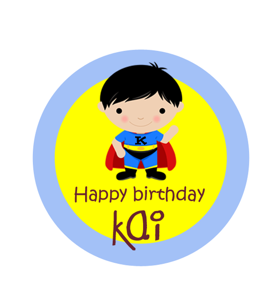 Super Boy Birthday Label
