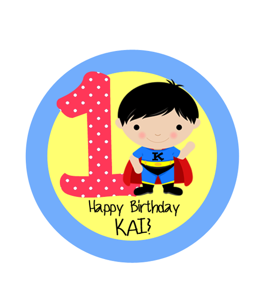 Super Boy with Age Birthday Label