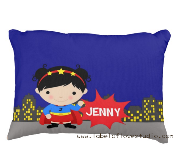 Pow Wow Super GIrl Personalized Pillow