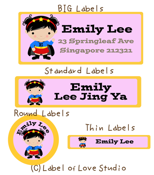 Super Girl Waterproof Labels