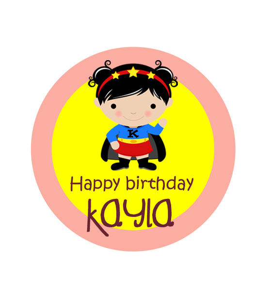 Super Girl Birthday Label