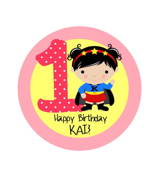 Super Girl with Age Birthday Label