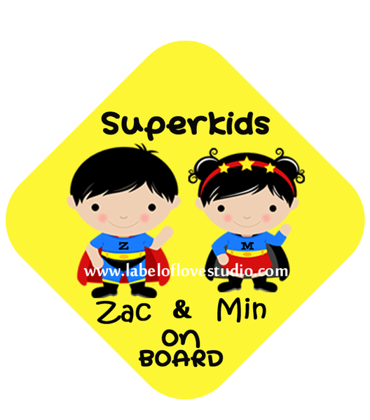 Super Boy & Super Girl Car Sign