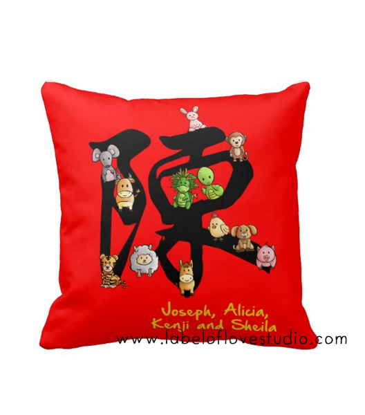 Surname of 12 zodiacs Cushion