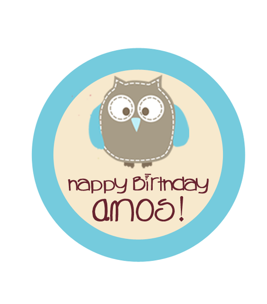 Sweet Owl in Blue Birthday Label