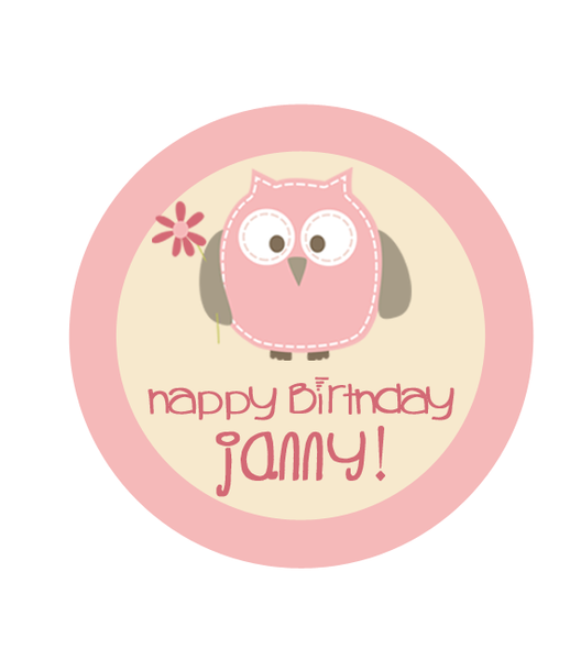 Sweet Owl in Pink Birthday Label
