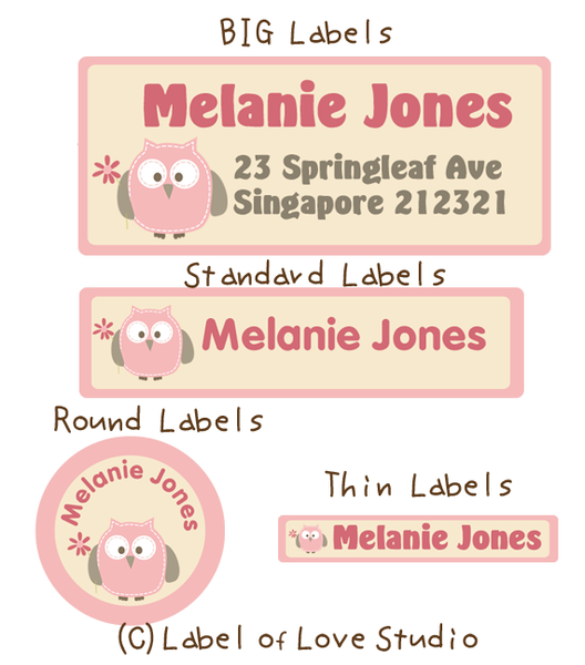 Sweet Owl in Pink Waterproof Name Labels