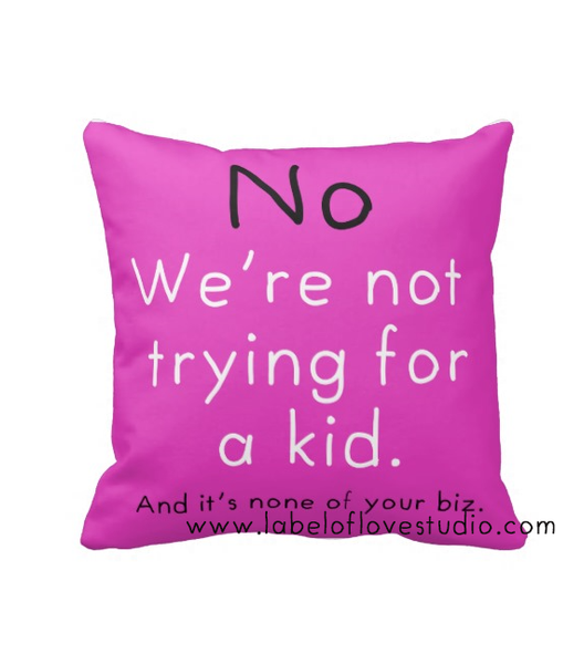 Cushions for the rude relatives: No Kids