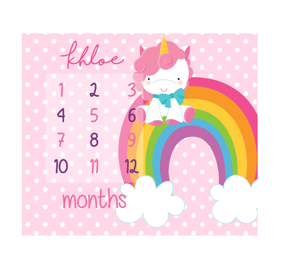 Magical Unicorn Milestones Blanket