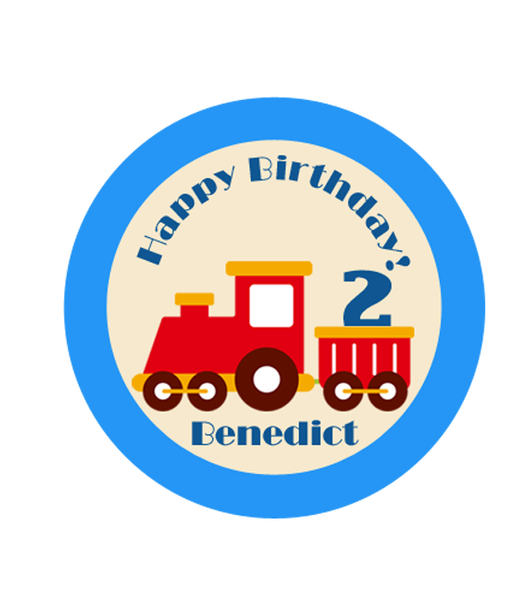 Vroom Vroom Train Birthday Label