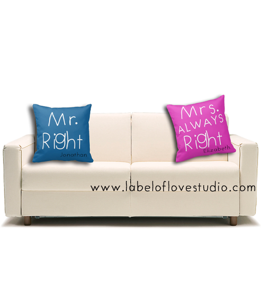 Mr and Mrs RIght Cushions