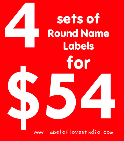 4 sets of Round Waterproof/ Iron On Name Labels for $54