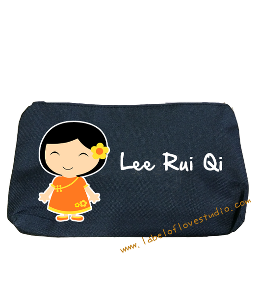 Oriental Girl in Orange Pencil Case