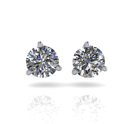 Forever Brilliant Moissanite 3-Prong Earrings 1 CTW