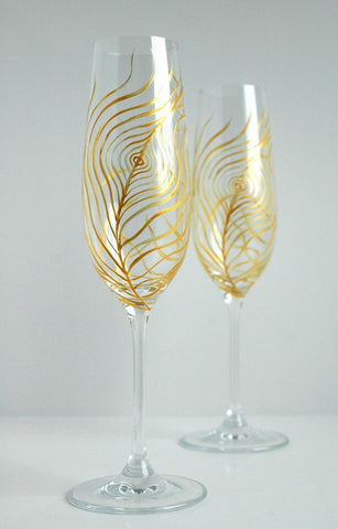 Gold Peacock Feather Wedding Toast Flutes