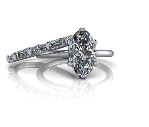 3.10 CTW Elongated Oval Engagement Ring and Oval & Emerald Cut Wedding Band-Bel Viaggio Designs
