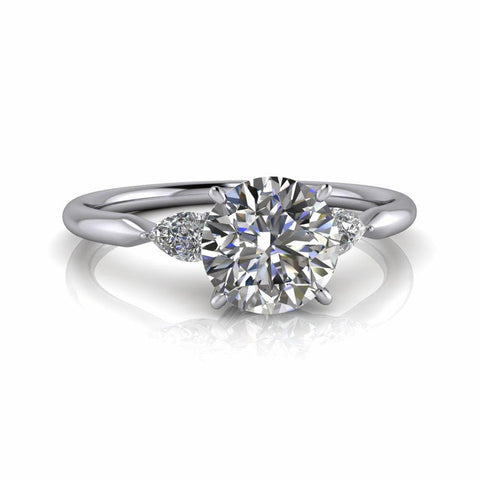 1.20 CT Pear Diamond & Moissanite Engagement Ring-Bel Viaggio Designs